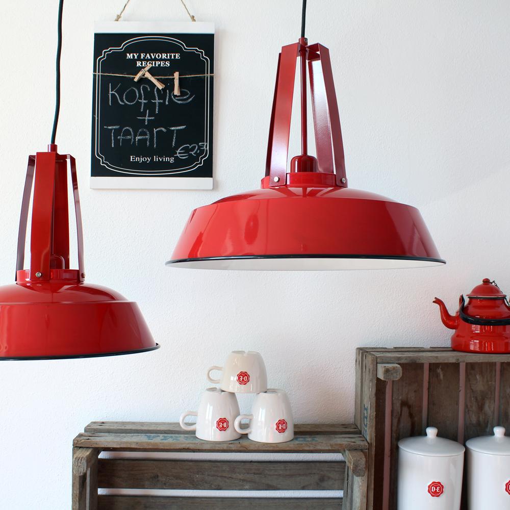 Suspension industrielle factory 35cm rouge - Lampe suspendue industrielle ...