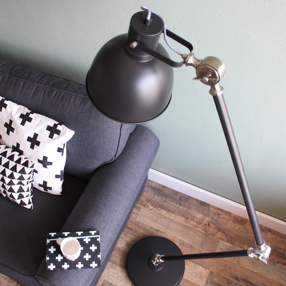 lampadaire industriel do noir de 170cm. Black Bedroom Furniture Sets. Home Design Ideas