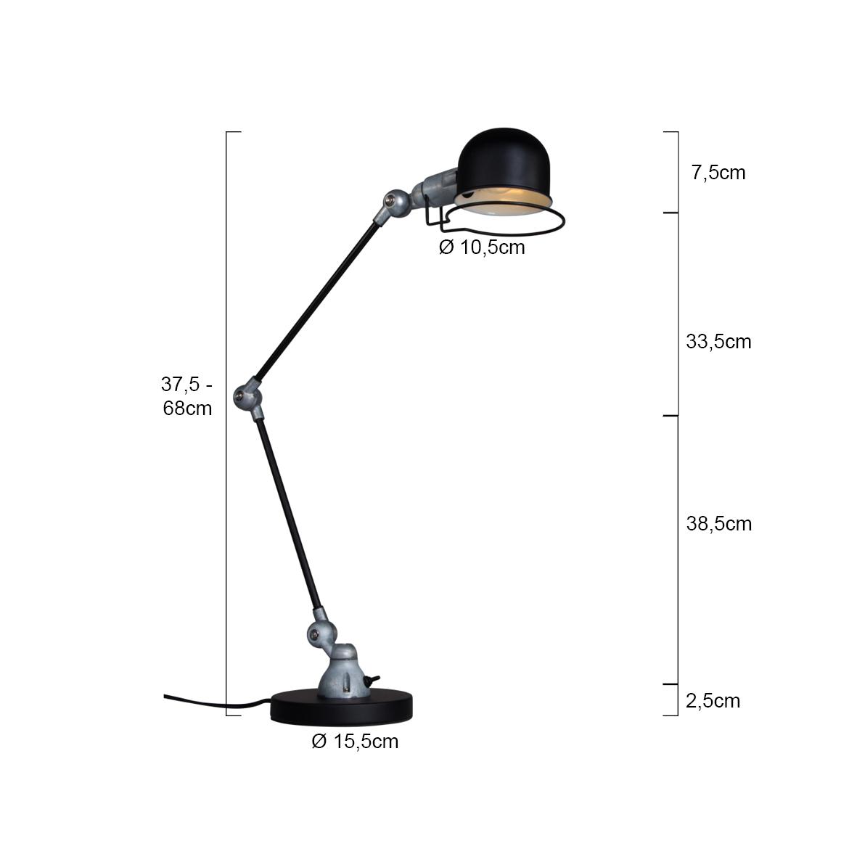 Lampe de bureau industrielle noire jip - Lampe de bureau noire ...