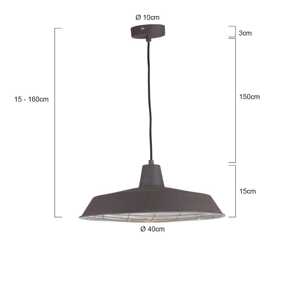 lampe suspendue industrielle boston 40 cm brun. Black Bedroom Furniture Sets. Home Design Ideas