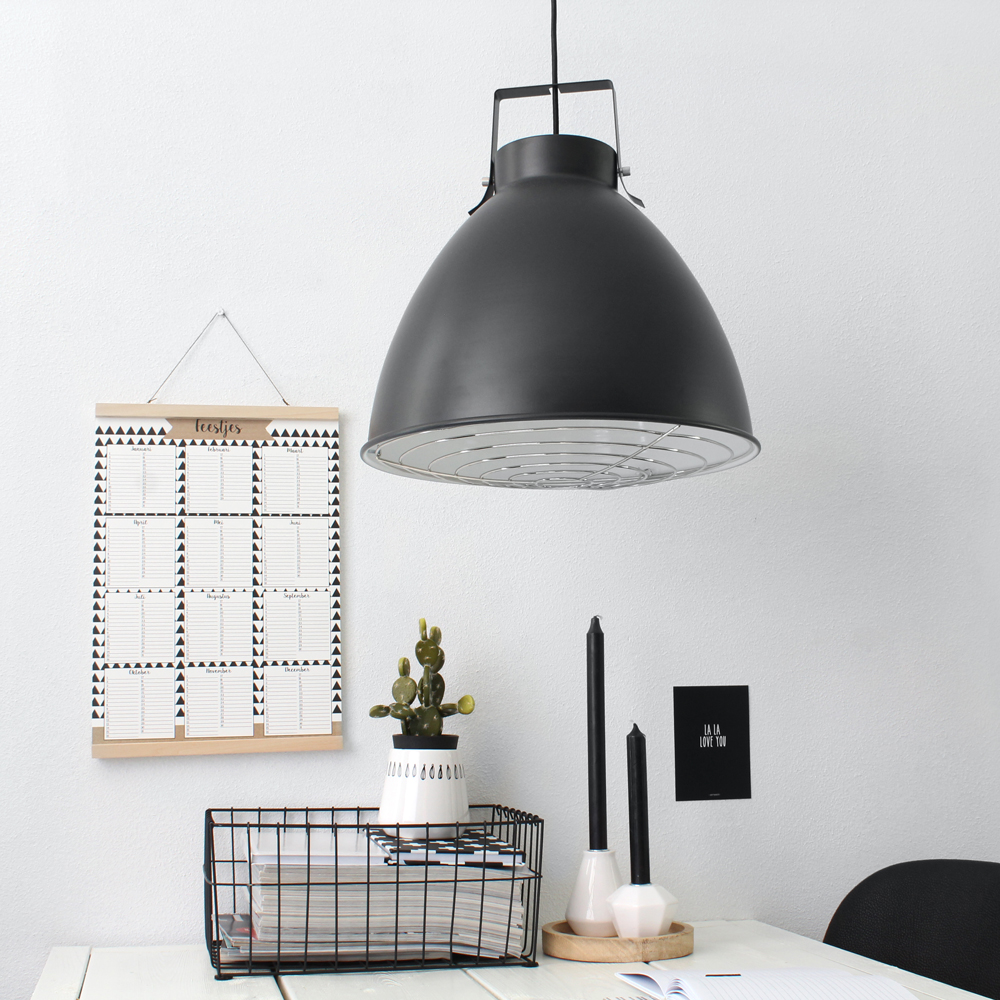 Suspension industrielle seattle noire 40 cm for Luminaire noir suspension