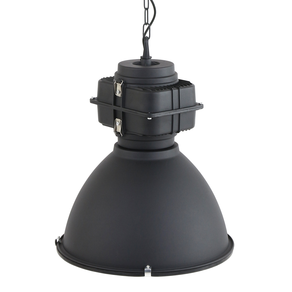 Suspension industrielle robuste toronto 47 cm noire for Lampe suspendu noir