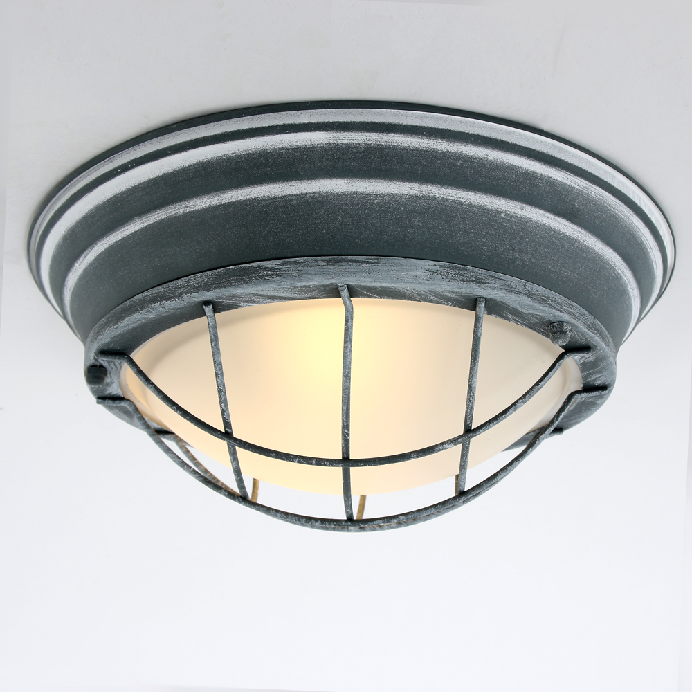 Le plafonnier industriel omega gris 34 cm lampe for Plafonnier industriel